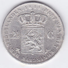 The Netherlands – 2½ guilders 1845b (with a dash between crown and coat of arms) Willem II – silver