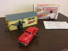 SCHUCO, (Western) Germany - Length 11 - 15 cm - Tin Varianto Limo 3041 - with clockwork motor and Garage 1500 replica, 60s/90s