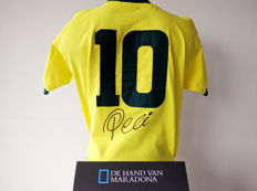 Pelé personally signed Brazil 1970 World Cup shirt + official COA