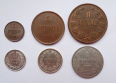 Russia for Finland - Set of 6 coins (Including 3 silver) 1890-1915