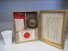 Rare full set of Japanese military flag with its container box and pole ball topper of the National Defence Women Association 1932-43