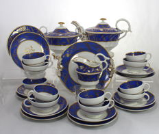 Stevenson & Alcock - Antique Georgian Porcelain Tea & Coffee Service - 6 Place Settings, 27 Items