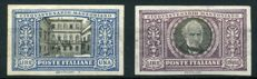 Kingdom of Italy - 1923 - 1 lire and 5 lire - Manzoni - imperforate - nos. 155d-156d