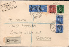 British Occupation of Former Italian Colonies - 1949 - Tripolitania BMA - Registered mail to Genoa