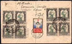 Italian Colonies, Libya, 1933 – Pictorial stamps + charity stamp – On envelope to Turin.