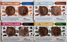 The Netherlands – 2 Euro coins 2014, 2015, 2016 and 2017 'Ik Hou van Holland' (4 different coins) in Coin Cards