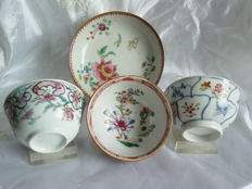 Three family Rose cups and saucers - China - 18th century