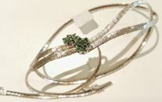 Necklace in 18 kt white gold with emeralds – Length: 40 cm