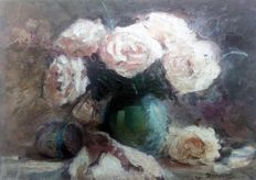Zoran Zivotic (1962-) - White roses with cup