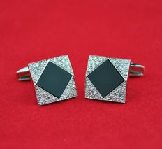 18kt white Gold Men's Cufflinks - Diamond 0.65ct & Black Onyx - Fronts size 15mm x 15mm ( x 20mm)