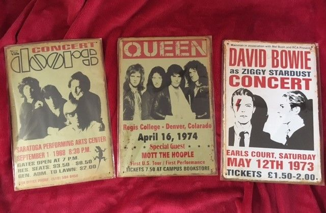 The Doors, Queen and David Bowie Concert Poster Tin Plaques