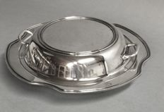 Round silver plated double serving tray with compartments, England, ca. 1955
