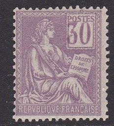 "France 1900 - ""Mouchon"" type with variety of displaced numbers - Yvert no. 115a"