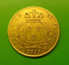 France - 20 Francs 1815 W Lille - Louis XVIII - gold