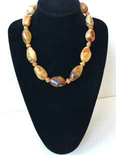 Genuine Baltic Amber necklace with marbled effect 78 gr.