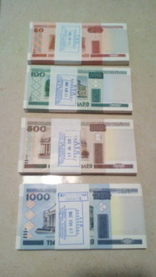 Belarus - 100x 50 roubles, 100x 100 roubles, 100 x 500 roubles, and 100x 1,000 roubles - Pick 25, 26, 27 and 28