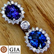 Unheated 4.23 ct Natural Blue And Purple Sapphire Diamond Pendant With Necklace in 18 kt Gold – GIA Certified - No Reserve