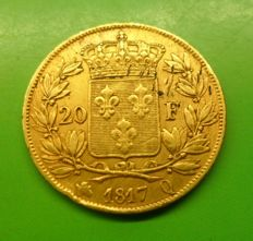 France - 20 Francs 1817 Q Perpignan - Louis XVIII - gold