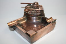 Rare original German WW2 ashtray with tank - marked Ges.Gesch.
