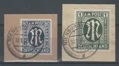 Allied Occupation Bizone 1945/1946 – 'M' in oval, German edition on letter pieces – Michel 34aAz + 35 Bz