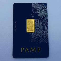 Switzerland - Pamp Suisse - 2.5 grams 999.9 gold / gold bars - in blister packaging - with certificate and serial number