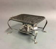 Silver plated brazier with adjustable spirit burner, W.S & Sons, England, approx. 1900