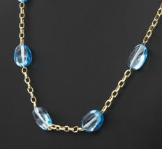 18 kt yellow gold necklace – Blue Topaz – Length 60 cm