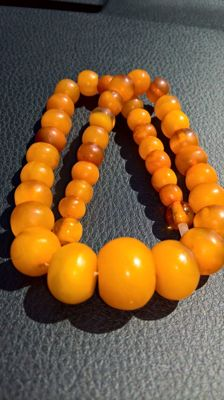 Antique Amber beads 1920-1930 year, 43.4 grams
