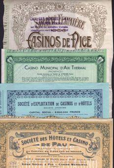 France - Lot of 4 Decorative French Casino Share Certificates - 1910-1940