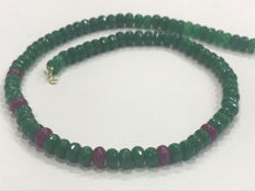 Emerald and ruby necklace with 18 kt gold - No reserve