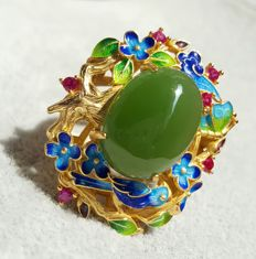 great handwork,Enamel, nephrite, sterling silver ring ,Weight : approx :12 g