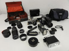 2 camera bags with cameras, lenses and 2 flash units