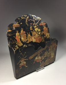 Black varnished papier-mâché letter holder - Japan - around 1920/1930