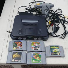 Nintendo 64 (N64) with 1 controller and 5 games for example Mariokart 64 and Super mario and Zelda