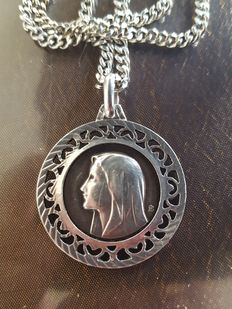 Necklace and round medal of the Virgin Mary in solid 925 silver - 60 cm