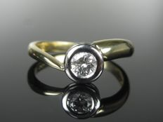 Solitaire ring gold with diamond 0.38 ct - ring size: 57 - 18.1mm UK: P 1/2, USA: 8.0 * no reserve price *