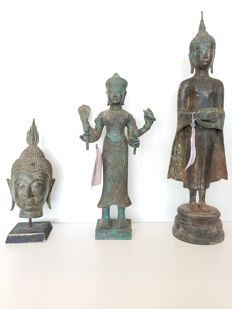 Three bronze statues - Thailand/Cambodia - second half 20th century