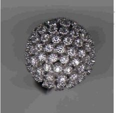 White gold ring with special half ball set with diamonds 1.38 ct - size 56