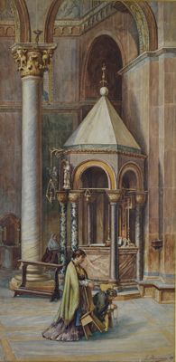 L Desideri (19th century) - A cathedral interior with ladies praying