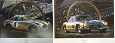 "2 X Lithographs by Hessel Bes - Mercedes-Benz 300SL Gullwing & Mercedes-Benz 300SL W194 1954 ""Panamericana"""