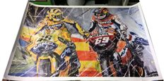 Exclusive lithograph by Eric Jan Kremer of Valentino Rossi & Nicky Hayden during the 2006 MotoGP.