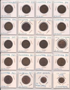 United Kingdom - ½ Penny up to and including 1 Pound 1896/2014 (184 coins) including silver