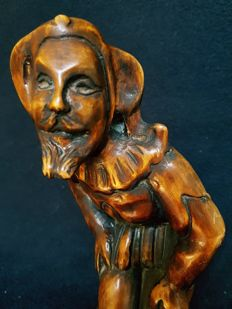 Lime-wood sculpture of a jester - France - 2nd half of 19th century