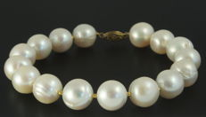 14k Gold Pearl bracelet - Saltwater pearls of 12.5mm - 22cm long - No reserve price