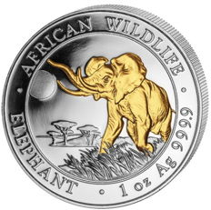 1 oz African Wildlife Series Elephant 2016 - 100 Shillings - 999 Silver - Silver Coin with 24 karat Gold Plating