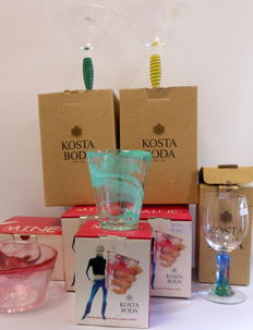 Kosta Boda - 5 cups Mine / bowl Mine / 2 x glass Epoque / 1 x glass Aqua