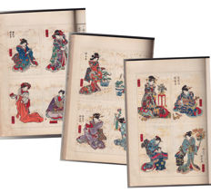 "Japanese print Book  ""Nise Murasaki inaka Genji"", part 2, by Ryūtei Tanehiko (1783-1842) and Utagawa Kunisada (1786-1865) - Japan - 1915"
