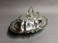 Antique silver plated double serving tray with removable knob, Welbeck, London, England, approx. 1890