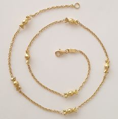 18 kt – Necklace in yellow gold with candies – Length: 42 cm