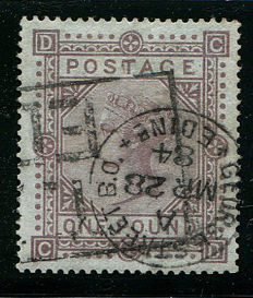 Great-Britain 1867/1883 – Queen Victoria – £1 brown-lilac – Stanley Gibbons 132 watermark Anchor